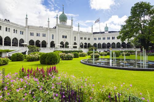 Leinwanddruck Bild Tivoli gardens in Copenhagen, Denmark