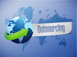 outsourcing world map illustration design