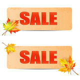 seasonal autumn sale.sheets of paper with the word sale decorate