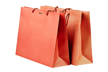 Two  red shopping bags.