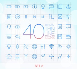 40 Trendy Thin Icons for web and mobile Set 3