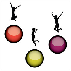 3 jumping silhouettes on colorful glossy bubbles