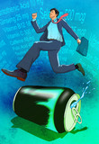 Businessman running on an energy drink can