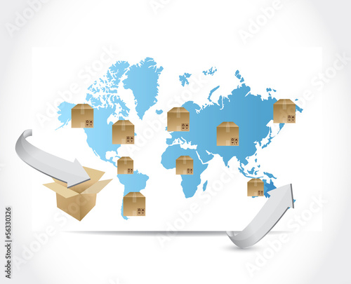 international box shipping illustration design