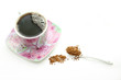 Porcelain cup with instant coffee