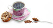 Porcelain cup with instant coffee and cookies