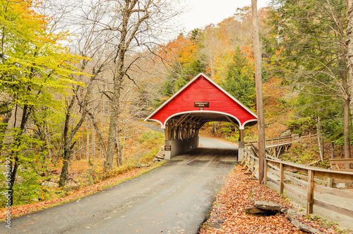 Covered Bridge in Autumn, New Hampshire