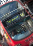 Zoom blur of London bus
