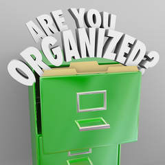 Are You Organized Filing Cabinet Words Records File System