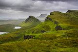 Scenic view of Quiraing mountains with dramatic sky, Scottish hi