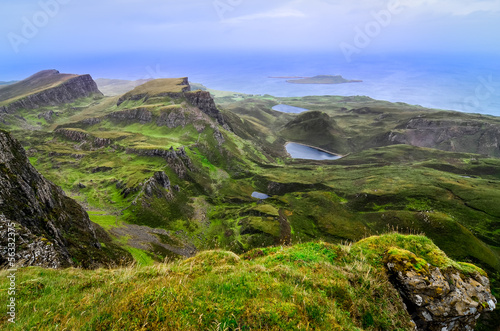 Scenic view of green Quiraing coastline in Scottish highlands