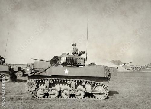 Leinwanddruck Bild Old American tank