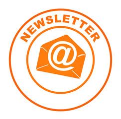 newsletter sur bouton web rond orange