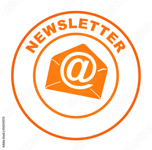 newsletter sur bouton web rond orange