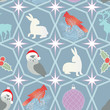 Repeating holiday background with Christmas ornaments and wildli
