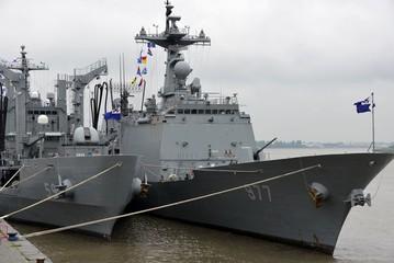 Warships in the harbor of Antwerp