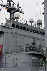 A part of a South-Korean warship in the harbor of Antwerp