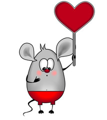 Mouse in love with his heart in his hands