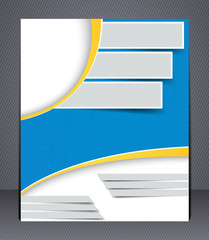 Brochure design in blue and yellow colors