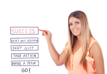 pretty girl teaches how to reach success