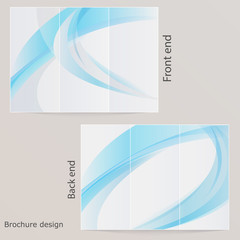 Layout tri-fold brochure. Design with blue by waves