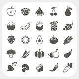 Fruits and Vegetables Icons with frame background