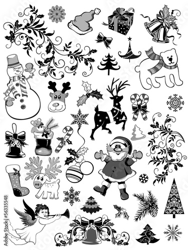 Set of Christmas  decorative elements