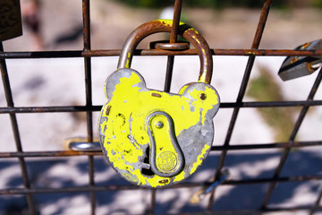 The love locks, Pont des Arts Sept 3, 2013 in Paris, France