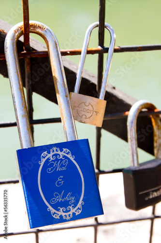 The love locks, Pont des Arts Sept 3, 2013 in Paris, France