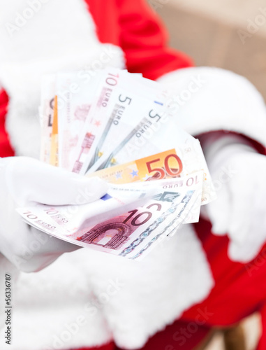 Santa Claus Holding Euros