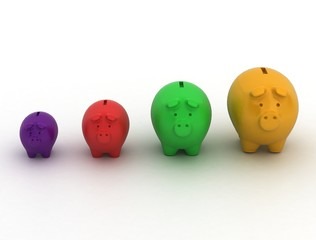 piggy bank coin row