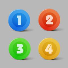 Vector color progress buttons for four steps