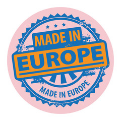 Stamp with the text Made in Europe written inside, vector
