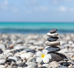 Zen balanced stones stack with plumeria flower