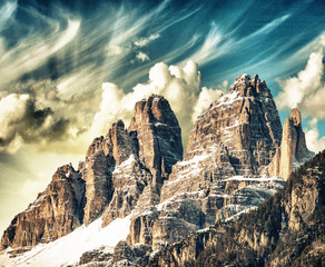 High Peaks of Dolomites. Italian Alps scenario on winter sunset