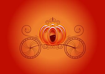 Carrosse de princesse - fond orange