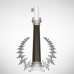 greece column, laurel wreath and number