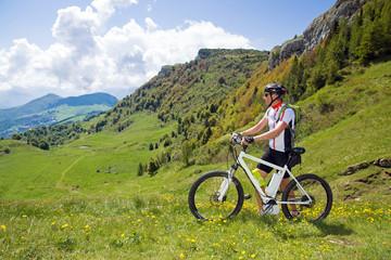 e-bike, pedelec, man, fahrrad, mountainbike, gebirge