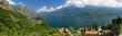 canvas print picture - Panorama, Limone, Gardasee, Italien, Luftbild, Berge, See