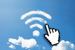 Digital icon hand click on wifi cloud shape
