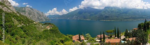 canvas print picture Panorama, Limone, Gardasee, Italien, Luftbild, Berge, See