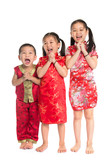 Little Asian children wishing you a happy Chinese New Year