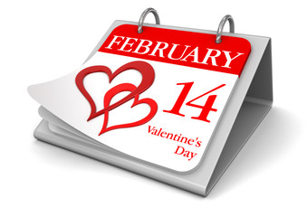Calendar -  14 february  (clipping path included)