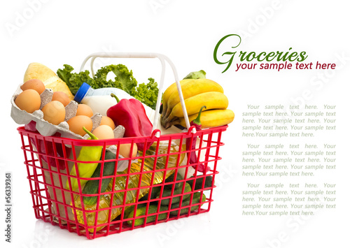 Shopping basket with groceries