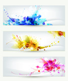 Fototapety Set of three headers. Abstract artistic Backgrounds