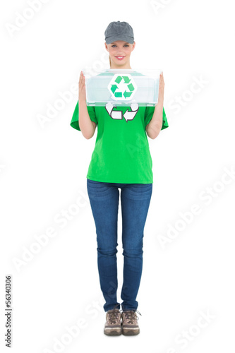 Happy pretty environmental activist holding a recycling box