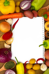 vegetables with paper for notes