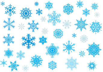 thirty nine blue snowflakes