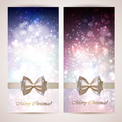 Christmas greeting cards with bow.