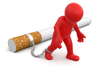 Man attached to cigarette (clipping path included)